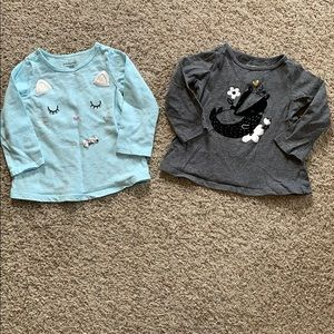 2 Long Sleeve Tee Shirts Size 6-9 Months